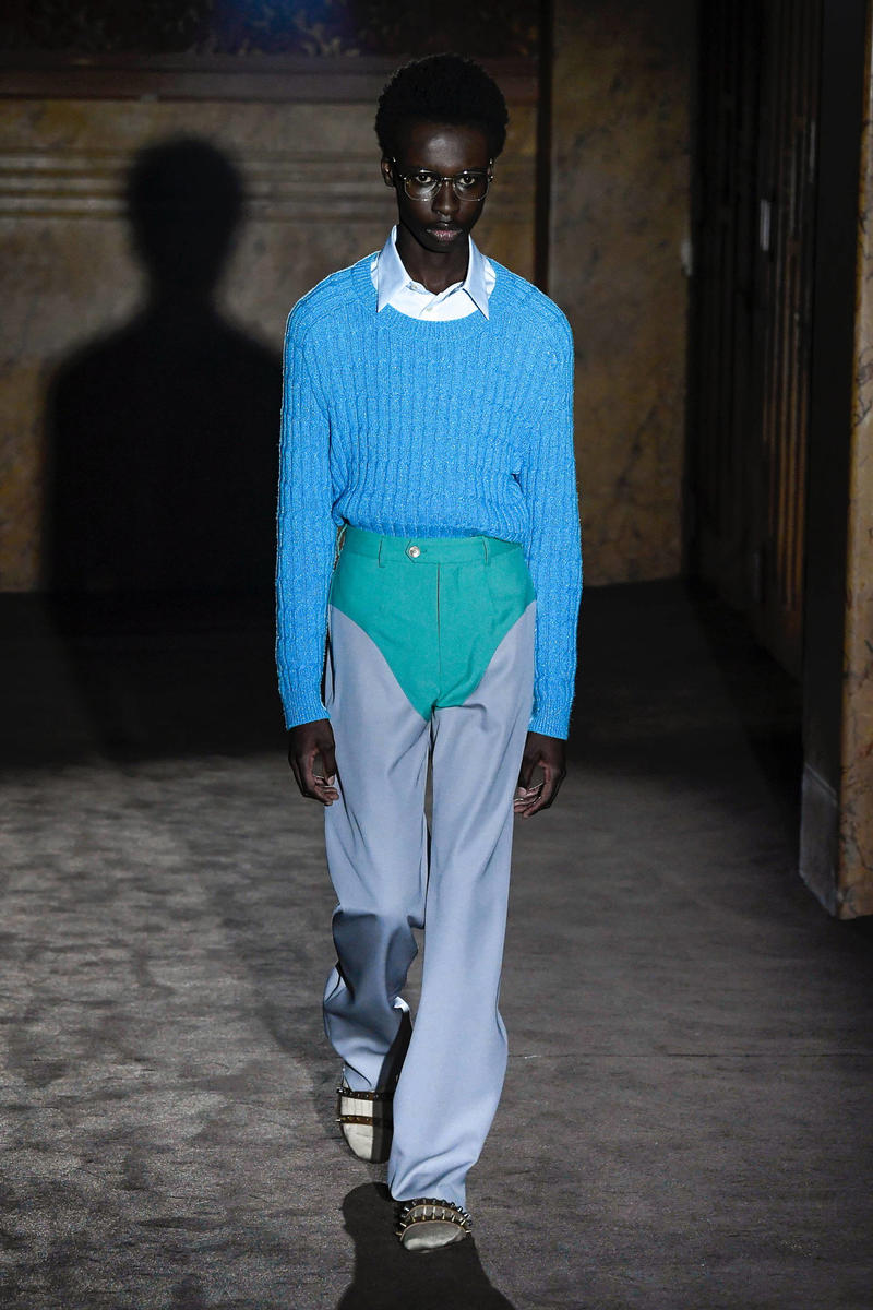 Gucci Alessandro Michelle Spring Summer 2019 Paris Fashion Week Show Collection Sweater Pants Blue