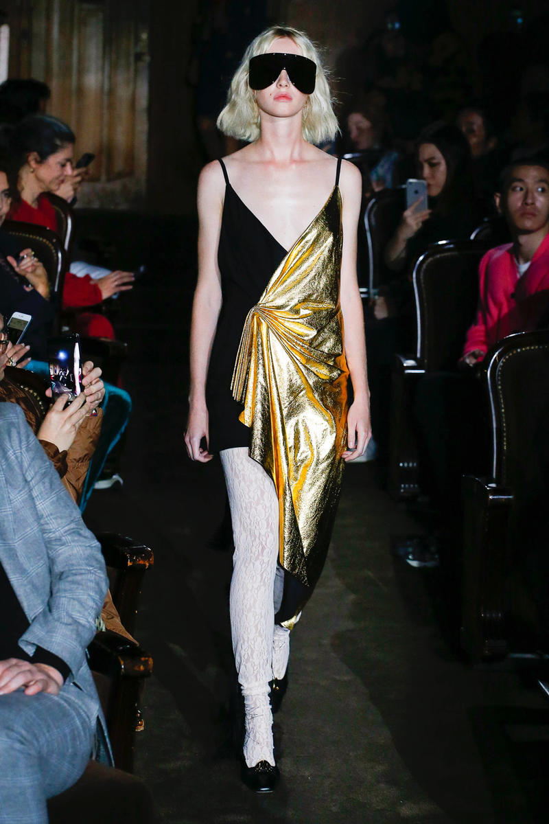Gucci Alessandro Michelle Spring Summer 2019 Paris Fashion Week Show Collection Dress Black Gold