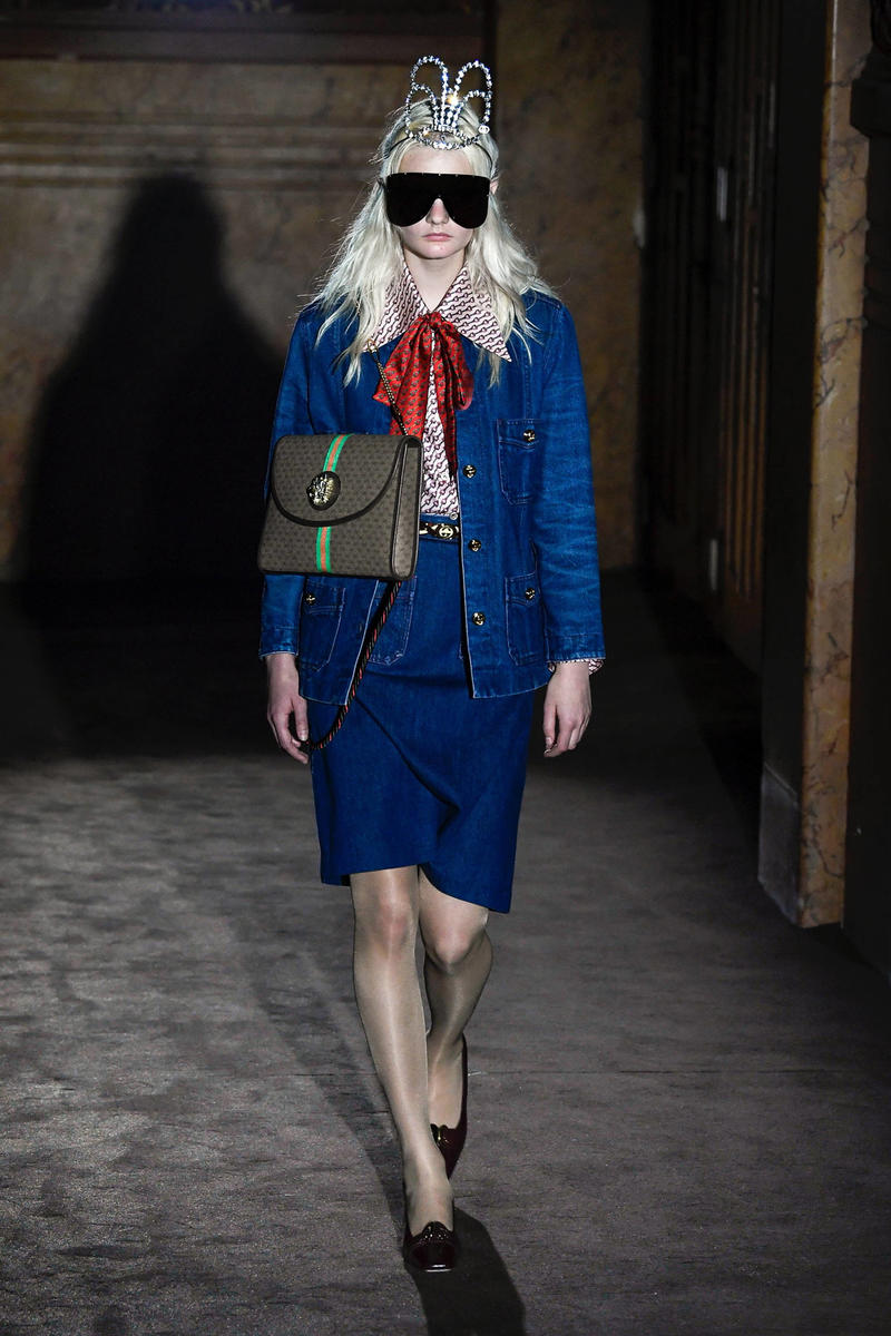Gucci Alessandro Michelle Spring Summer 2019 Paris Fashion Week Show Collection Jacket Skirt Blue Handbag Brown