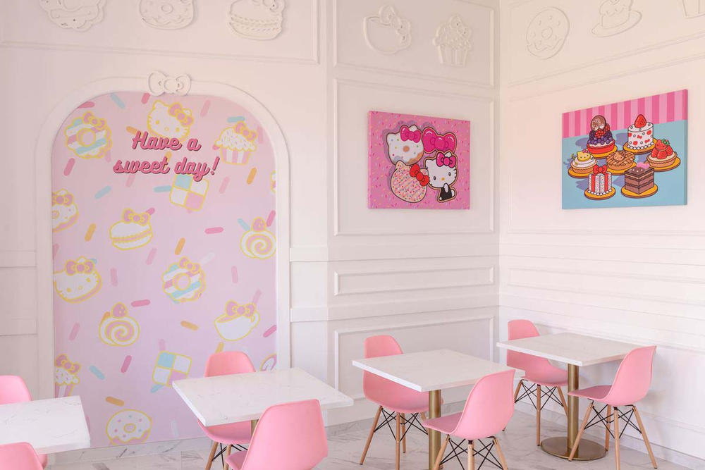 Hello Kitty Grand Cafe Interior Menu Irvine California