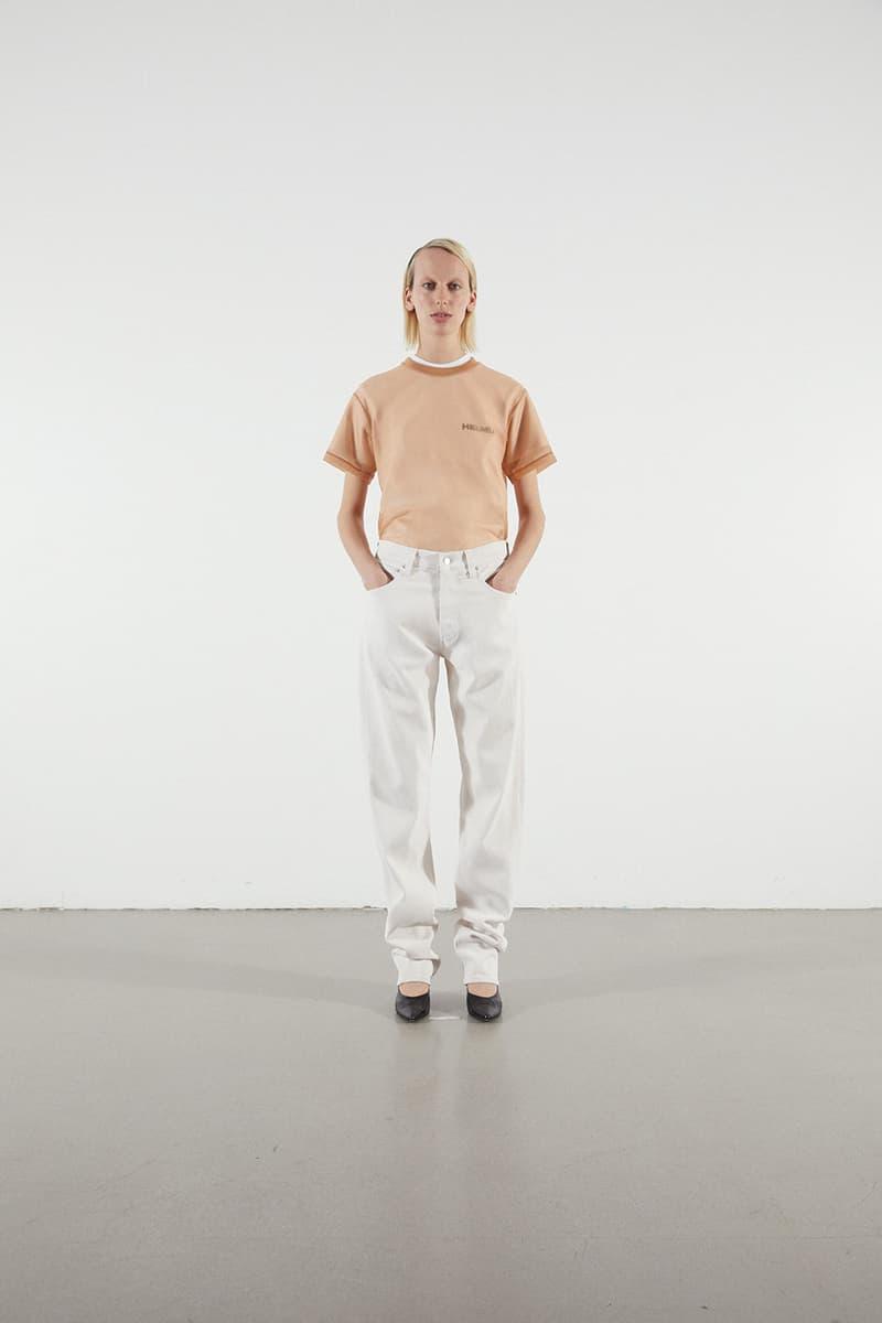 Helmut Lang Jeans Under Construction Capsule Lookbook T-shirt Tan Denim White