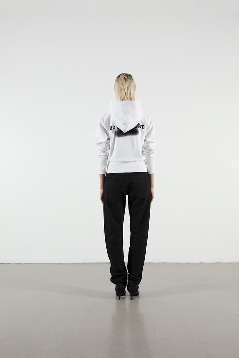 Helmut Lang Jeans Under Construction Capsule Lookbook Hoodie White Denim Black
