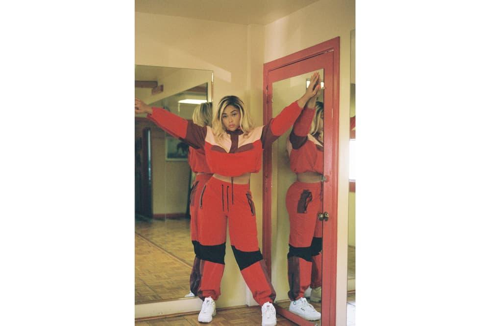 Jordyn Woods Secndnture Activewear Collection OVS Classic Windbreak Pant Red Orange