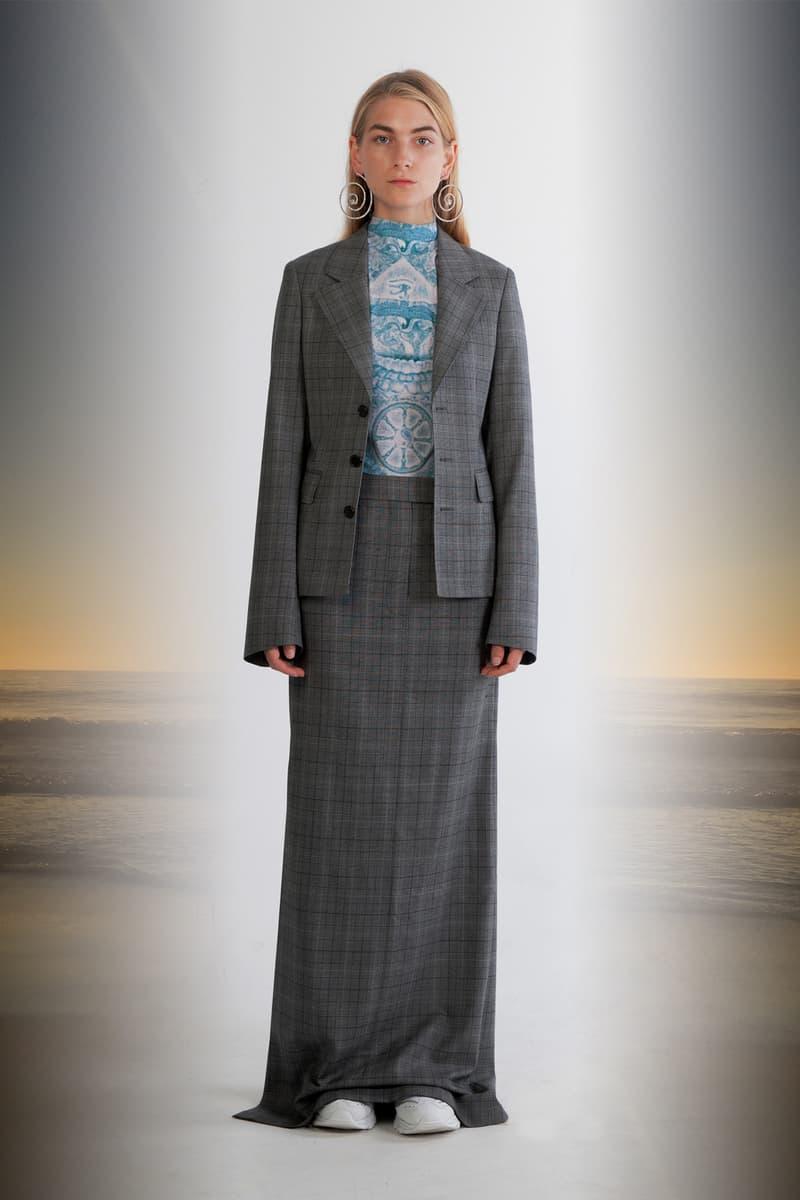 Julia Seeman Fall/Winter 2018 Collection Lookbook Blazer Skirt Grey Top Teal