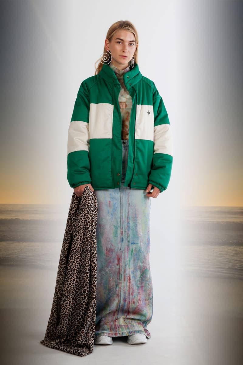 Julia Seeman Fall/Winter 2018 Collection Lookbook Tie-Dye Skirt Blue Pink Puffer Coat White Green