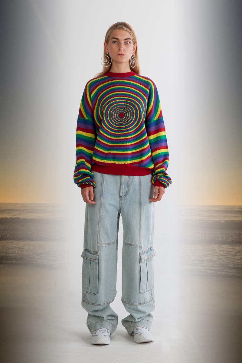 Julia Seeman Fall/Winter 2018 Collection Lookbook Sweater Green Red Yellow Jeans Blue