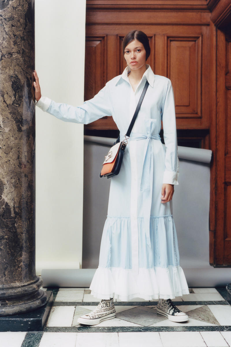 JW Anderson x Net-a-Porter Capsule Collection Dress White Blue Disc Shoulder Bag Orange Cream
