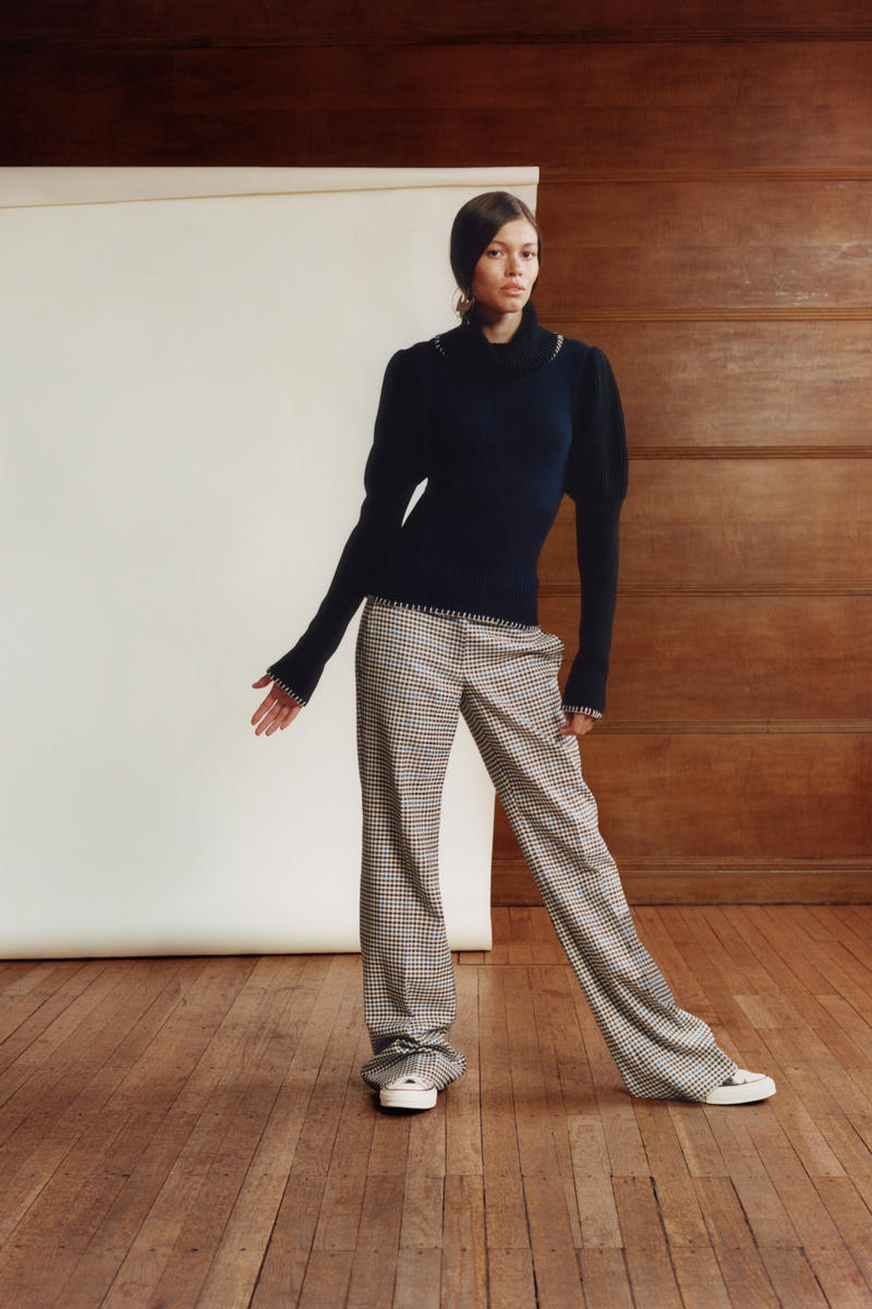 JW Anderson x Net-a-Porter Capsule Collection Sweater Black Trousers Plaid Tan Brown