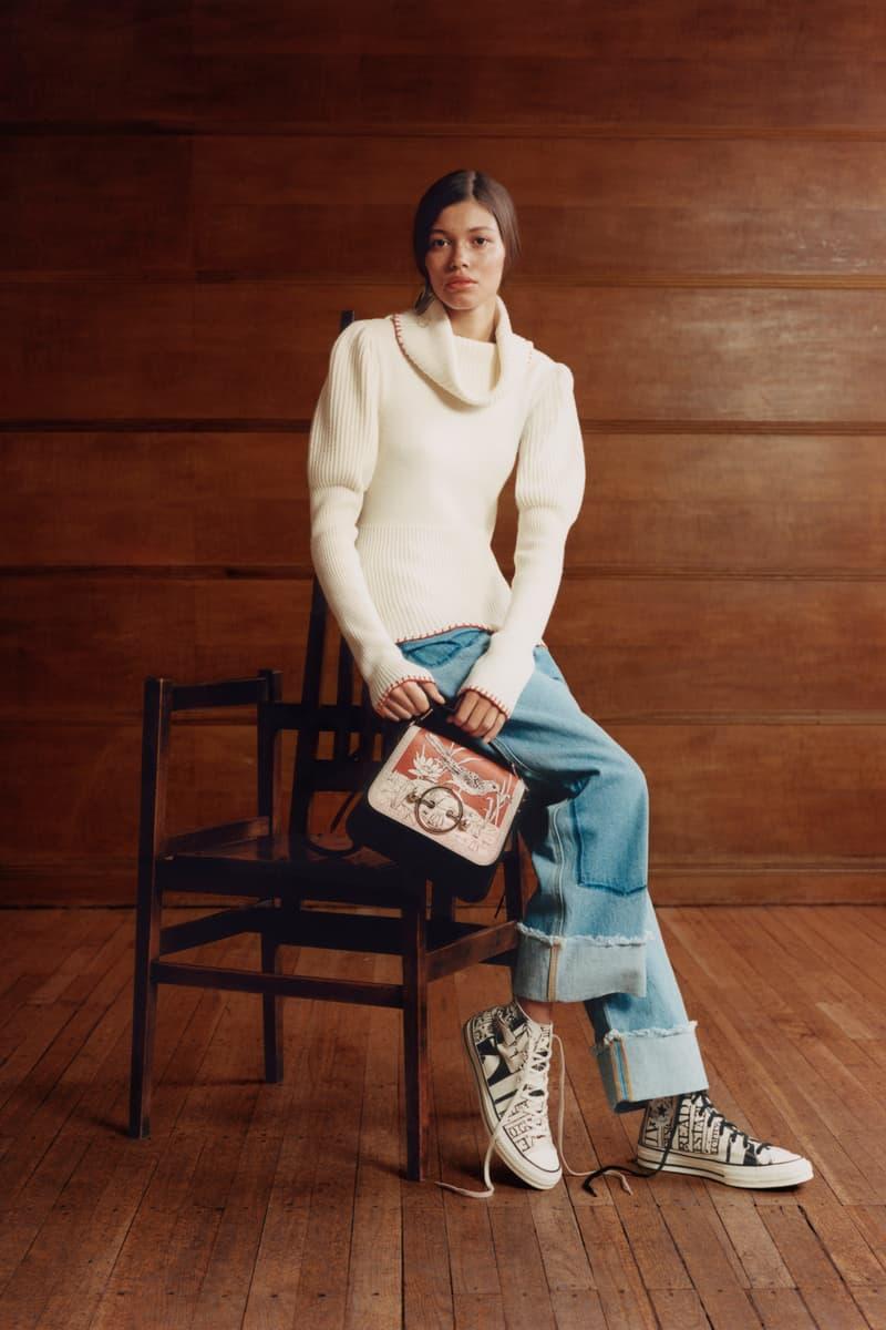JW Anderson x Net-a-Porter Capsule Collection Sweater White Jeans Blue Disc Shoulder Bag Orange Cream Black