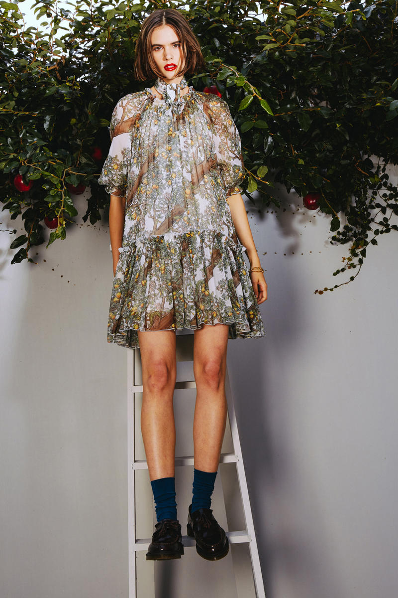 Karen Walker 2018 Spring Summer NYFW Lookbook Orchard Dress Blue Green