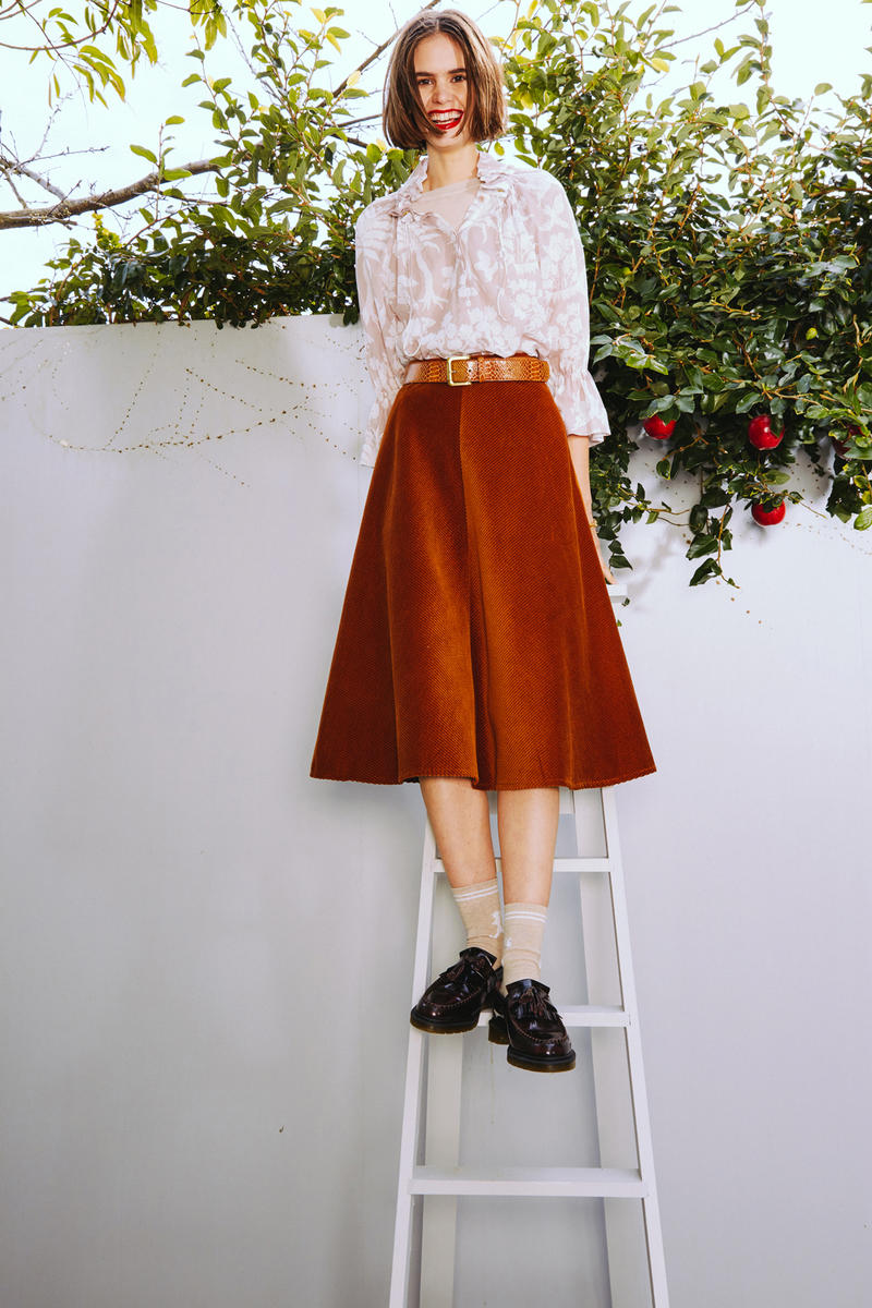 Karen Walker 2018 Spring Summer NYFW Lookbook Floral Top Cream Tan Skirt Brown