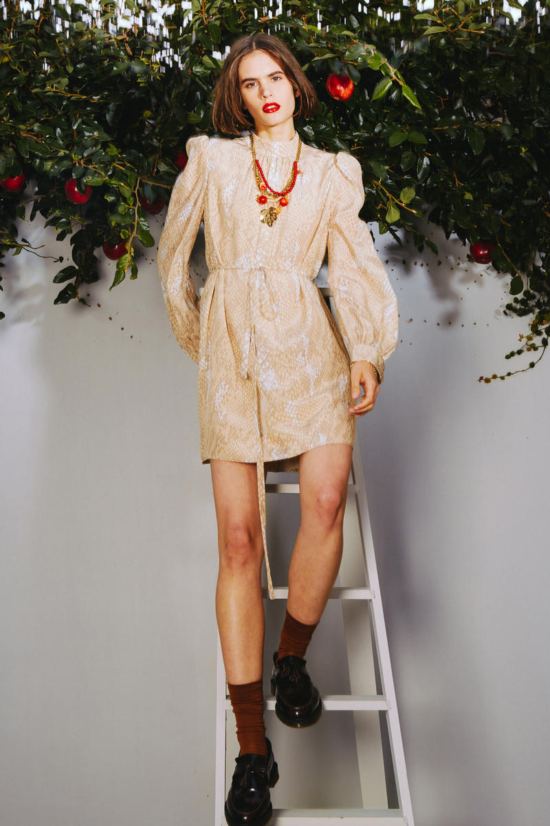 Karen Walker 2018 Spring Summer NYFW Lookbook Floral Dress Cream Tan