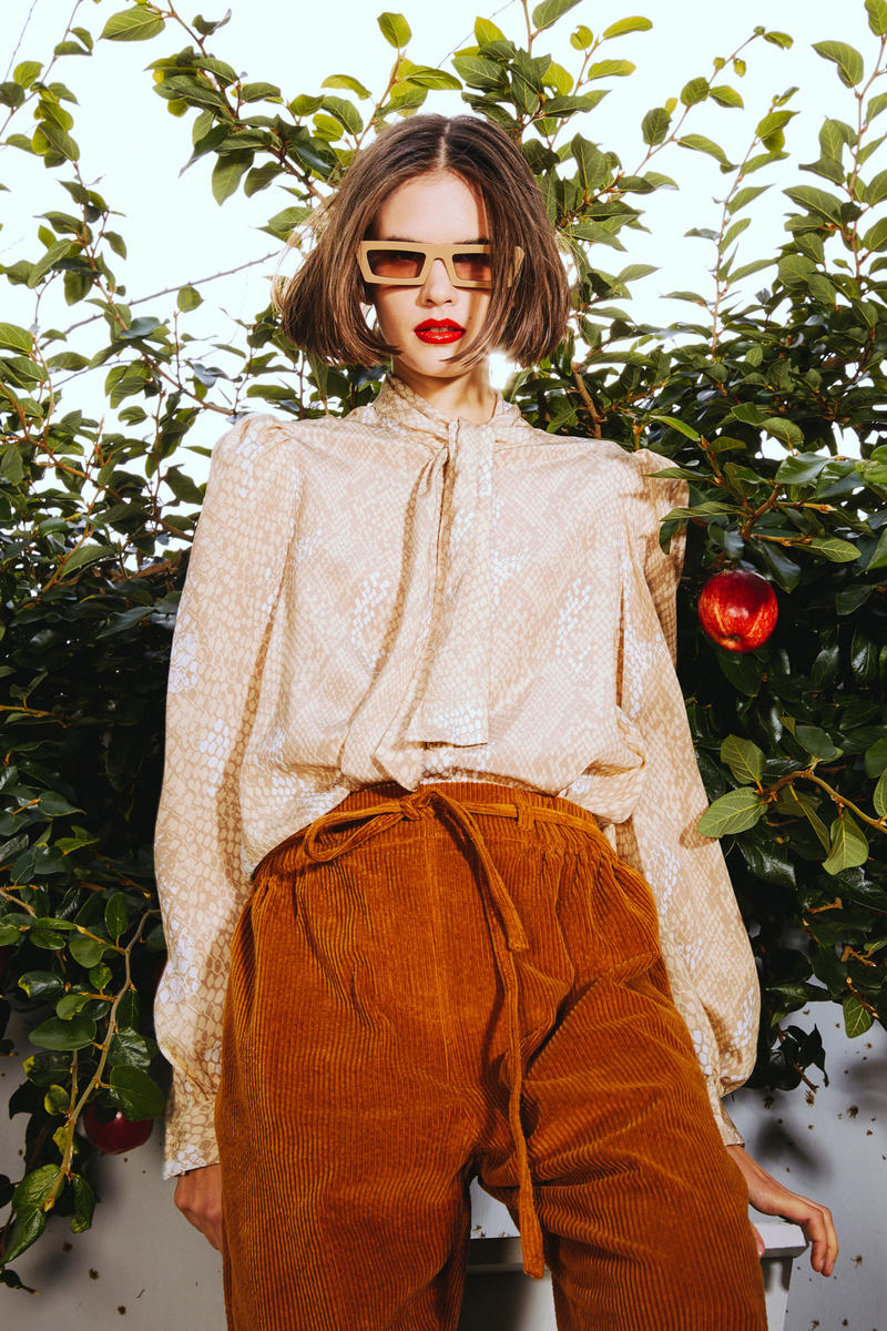 Karen Walker 2018 Spring Summer NYFW Lookbook Floral Top Cream Tan Corduroy Pants Brown