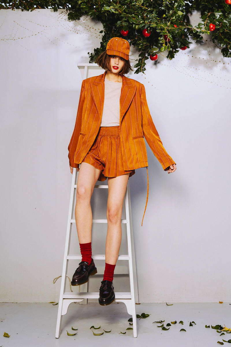 Karen Walker 2018 Spring Summer NYFW Lookbook Blazer Shorts Hat Brown Shirt Cream