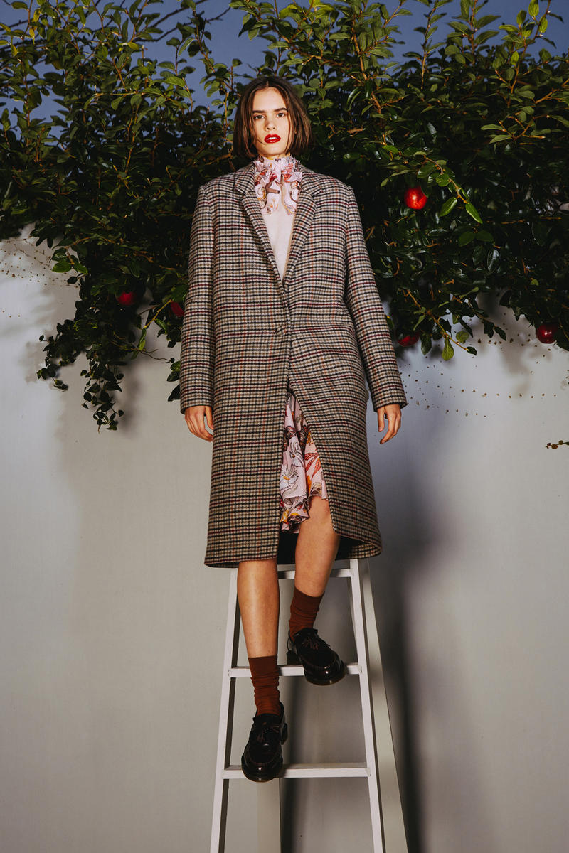 Karen Walker 2018 Spring Summer NYFW Lookbook Plaid Jacket Brown Black Shirt Pink