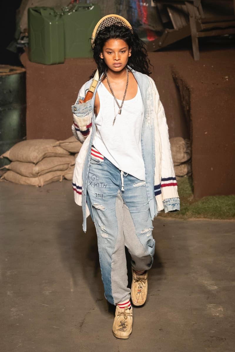 KITH 2018 Fall Winter NYFW New York Fashion Week Greg Lauren Shirt White Denim Pants Blue Sweater Grey