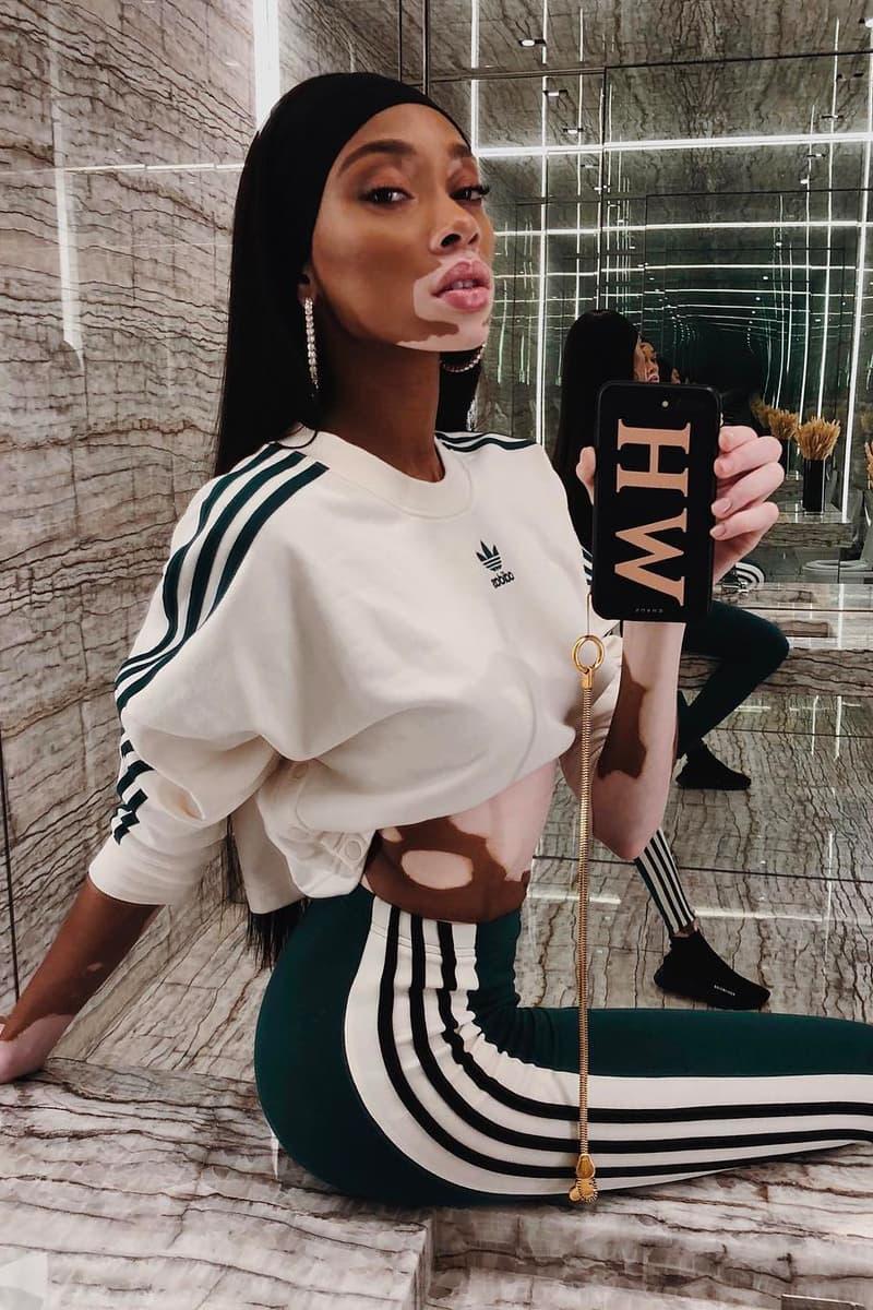 London Fashion Week Celebrity Style Winnie Harlow adidas Originals Selfie Mirror