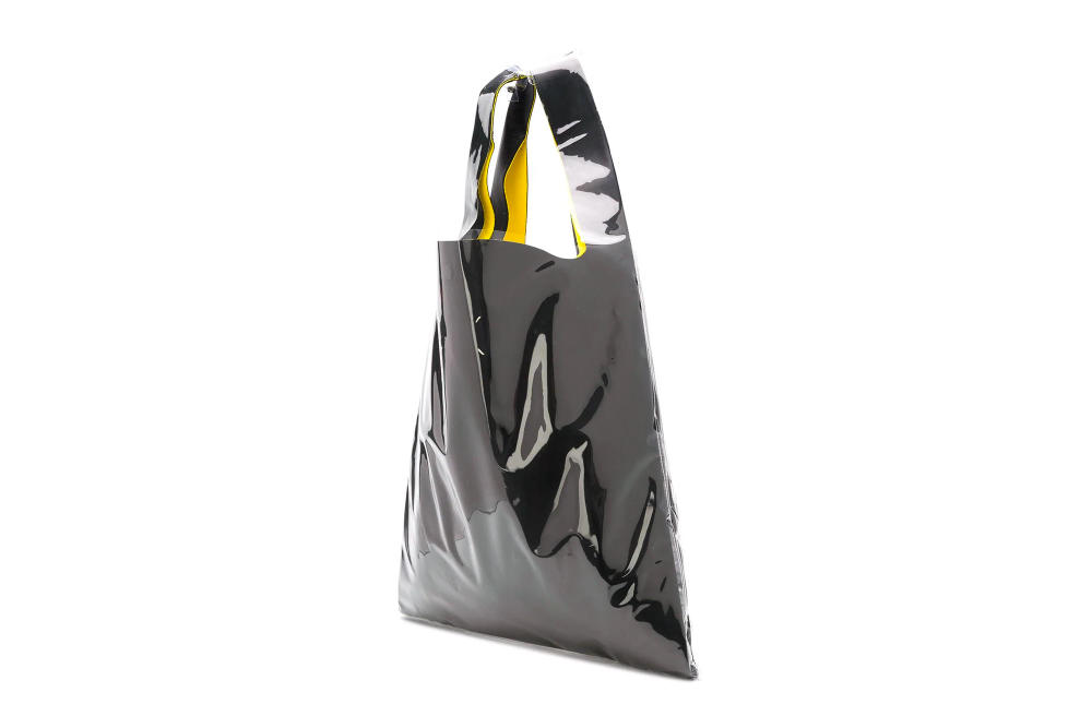 Maison Margiela Black PVC Logo Tote Bag Number Print Yellow Leather Logo Fashion Purse