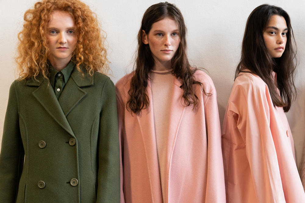 Mansur Gavriel Fall Winter 2018 New York Fashion Week Show Backstage Pink Green Coats
