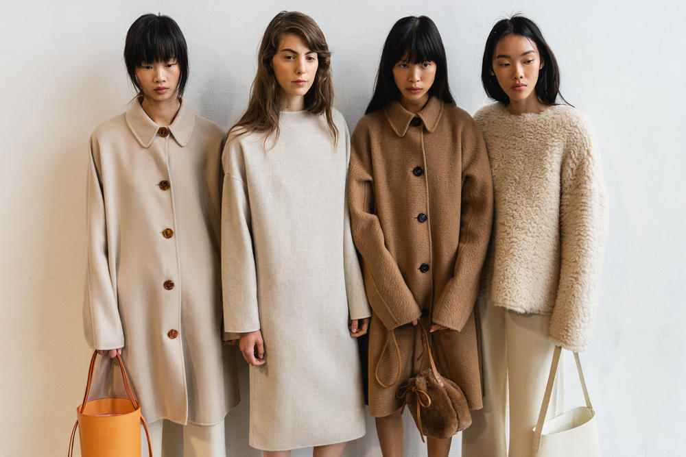 Mansur Gavriel Fall Winter 2018 New York Fashion Week Show Backstage Brown Beige Coat Bags