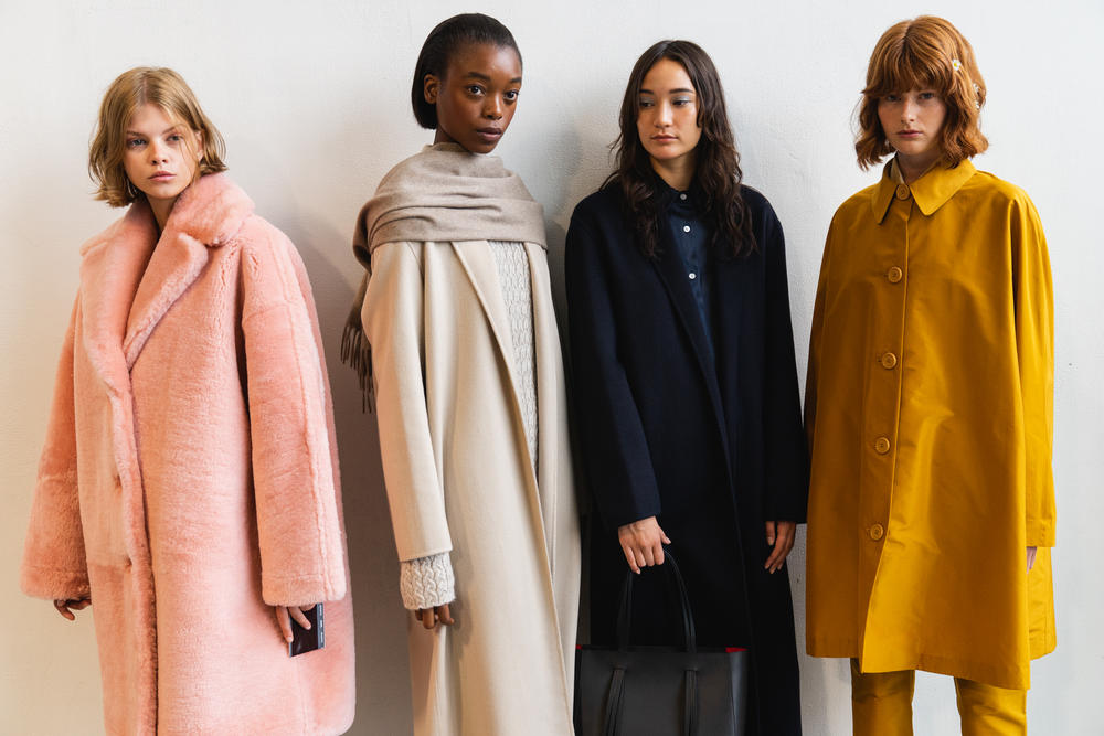 Mansur Gavriel Fall Winter 2018 New York Fashion Week Show Backstage Pink Mustard Yellow Beige Black Coats