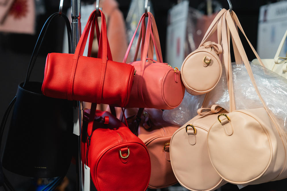 Mansur Gavriel Fall Winter 2018 New York Fashion Week Show Backstage Duffle Bags Red Pink