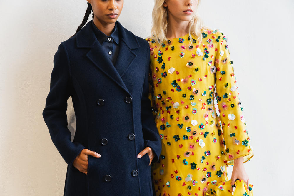 Mansur Gavriel Fall Winter 2018 New York Fashion Week Show Backstage Black Yellow Floral Dress