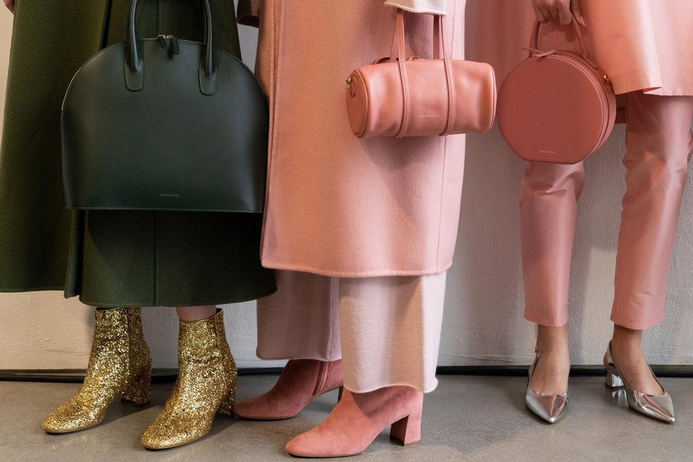 Mansur Gavriel Fall Winter 2018 New York Fashion Week Show Backstage Pink Green Bags Duffle Footwear Coats
