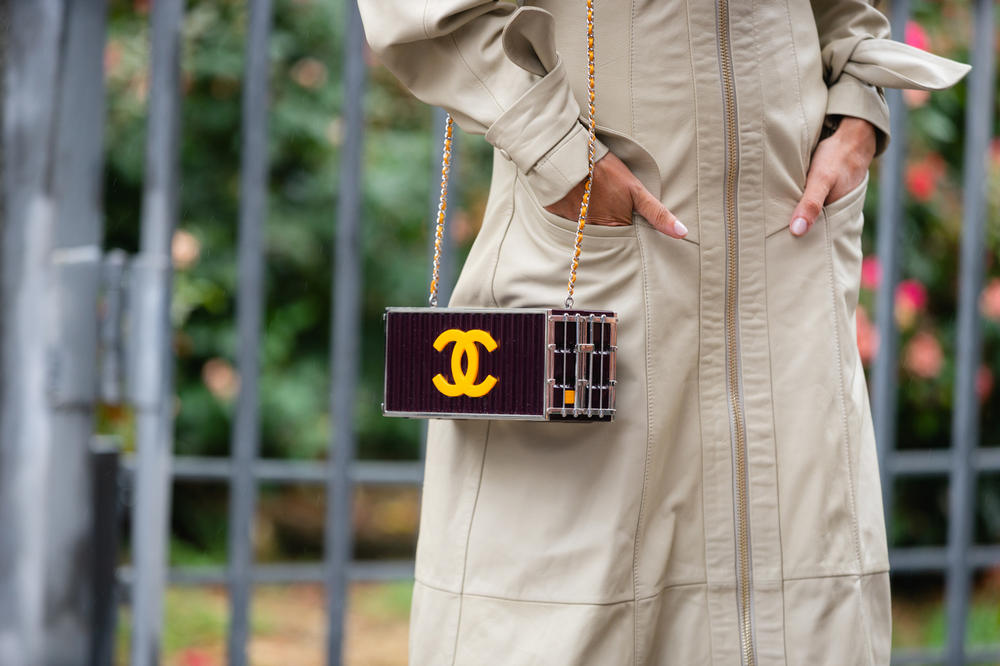 New York Fashion Week NYFW Street Style Street Snaps Chanel Bag Maroon Yellow Jacket Tan
