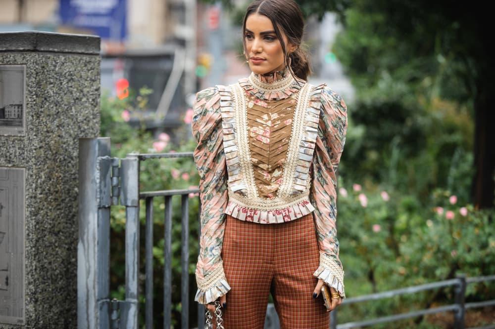 New York Fashion Week NYFW Street Style Street Snaps Camila Coelho Victorian Top Tan Brown