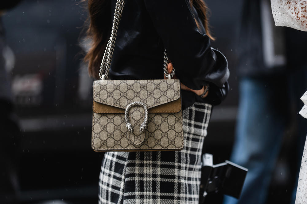 New York Fashion Week NYFW Street Style Street Snaps Gucci Logo Marmont Bag Brown