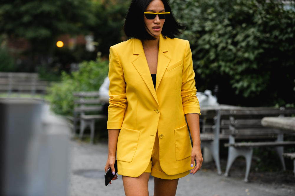 New York Fashion Week NYFW Street Style Street Snaps Tiffany Hsu Blazer Shorts Yellow
