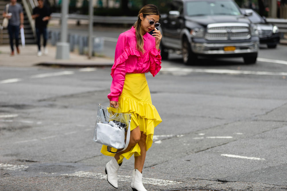 New York Fashion Week NYFW Street Style Street Snaps Top Pink Skirt Yellow Boots White
