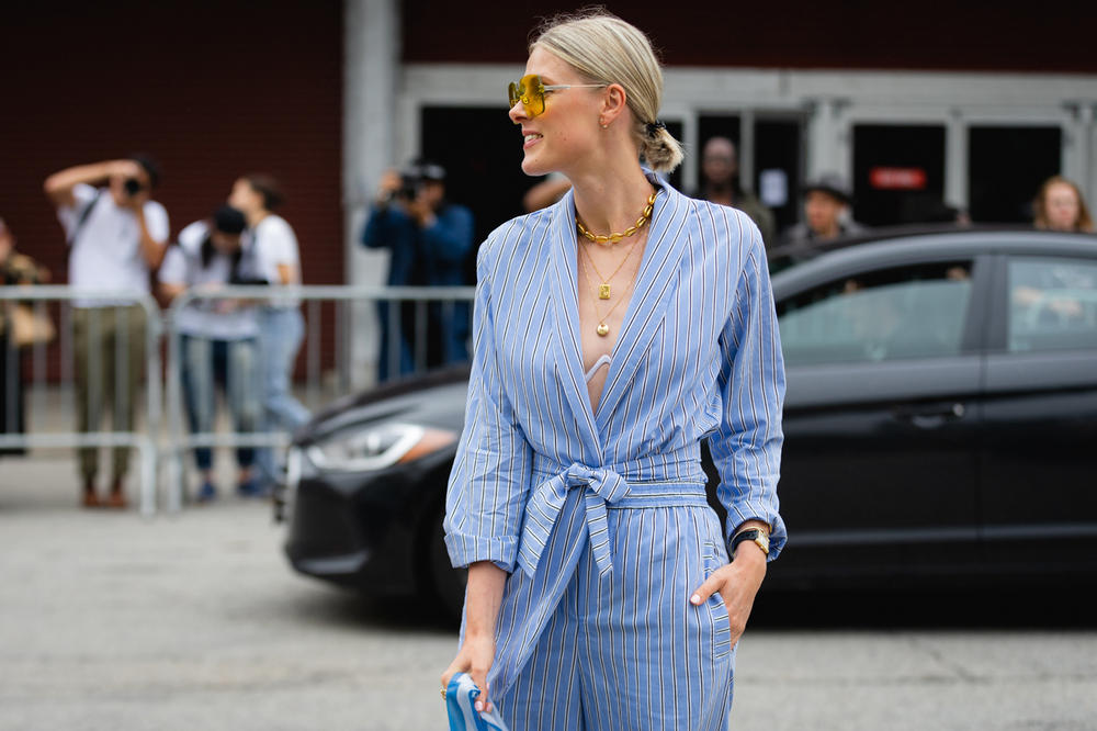 New York Fashion Week NYFW Street Style Street Snaps Top Blue