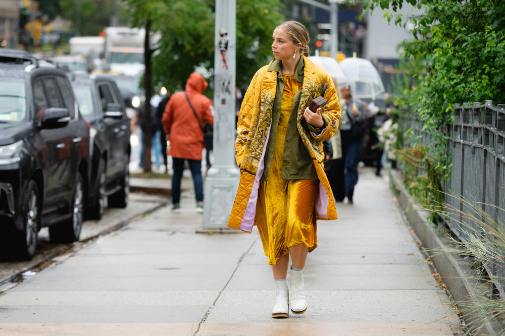 New York Fashion Week NYFW Street Style Street Snaps Jacket Dress Yellow Boots White