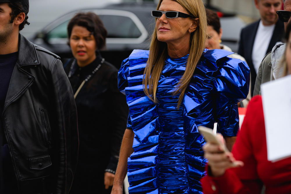New York Fashion Week NYFW Street Style Street Snaps Anna Dello Russo Dress Blue