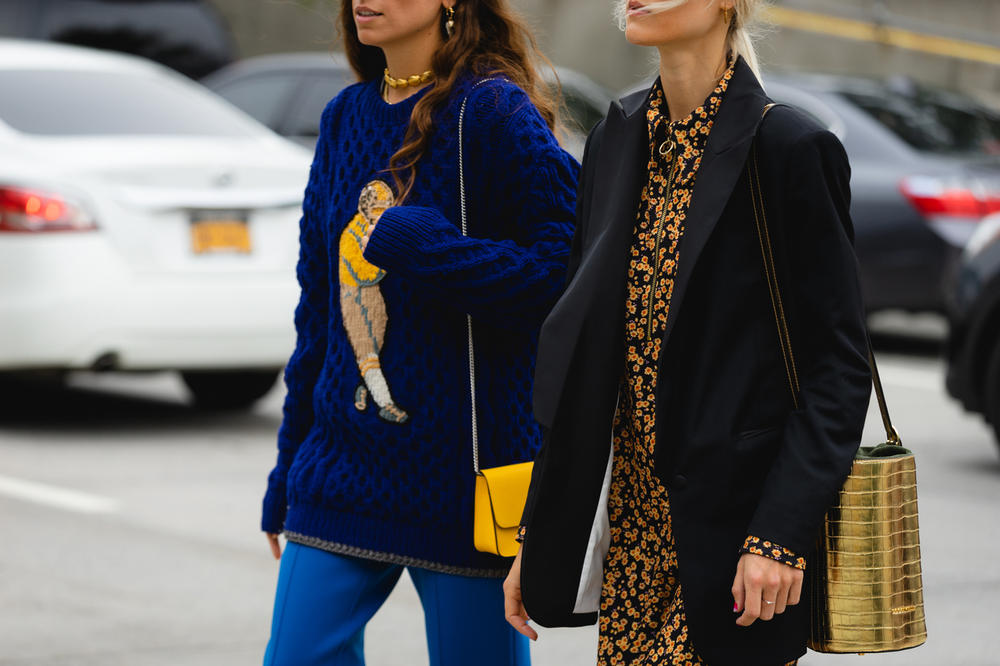 New York Fashion Week NYFW Street Style Street Snaps Jacket Blue Blazer Black Handbag Gold