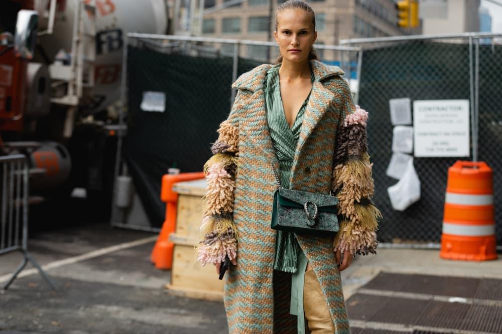 New York Fashion Week NYFW Street Style Street Snaps Plaid Jacket Gucci Marmont Bag Green