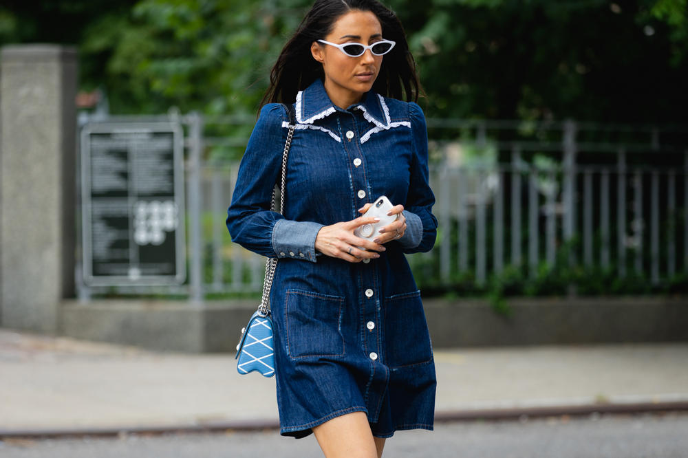 New York Fashion Week NYFW Street Style Street Snaps Denim Dress Blue
