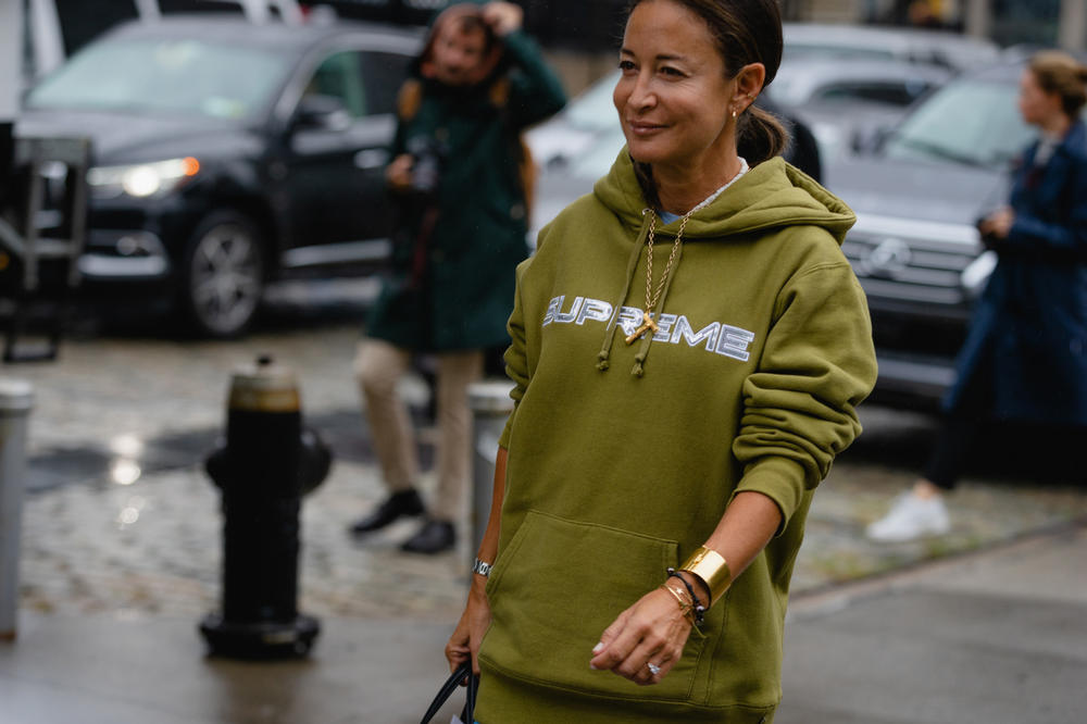 New York Fashion Week NYFW Street Style Street Snaps Supreme Hoodie Green