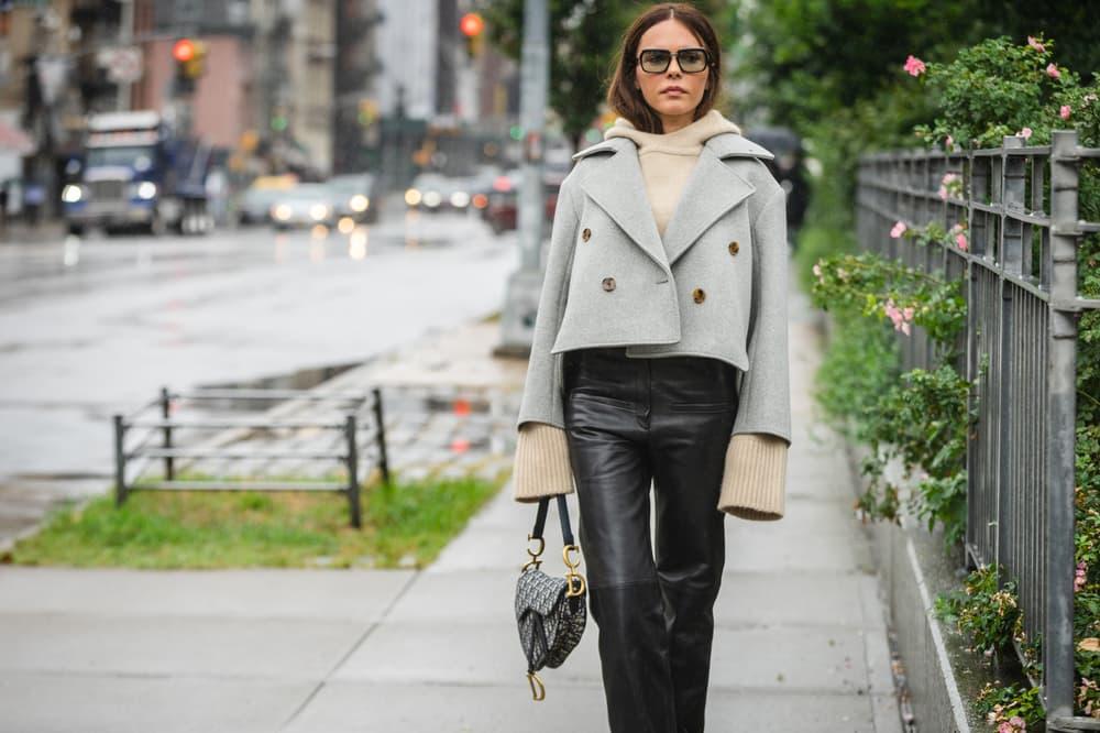 029493d3a New York Fashion Week NYFW Street Style Street Snaps Jacket Grey Pants Black