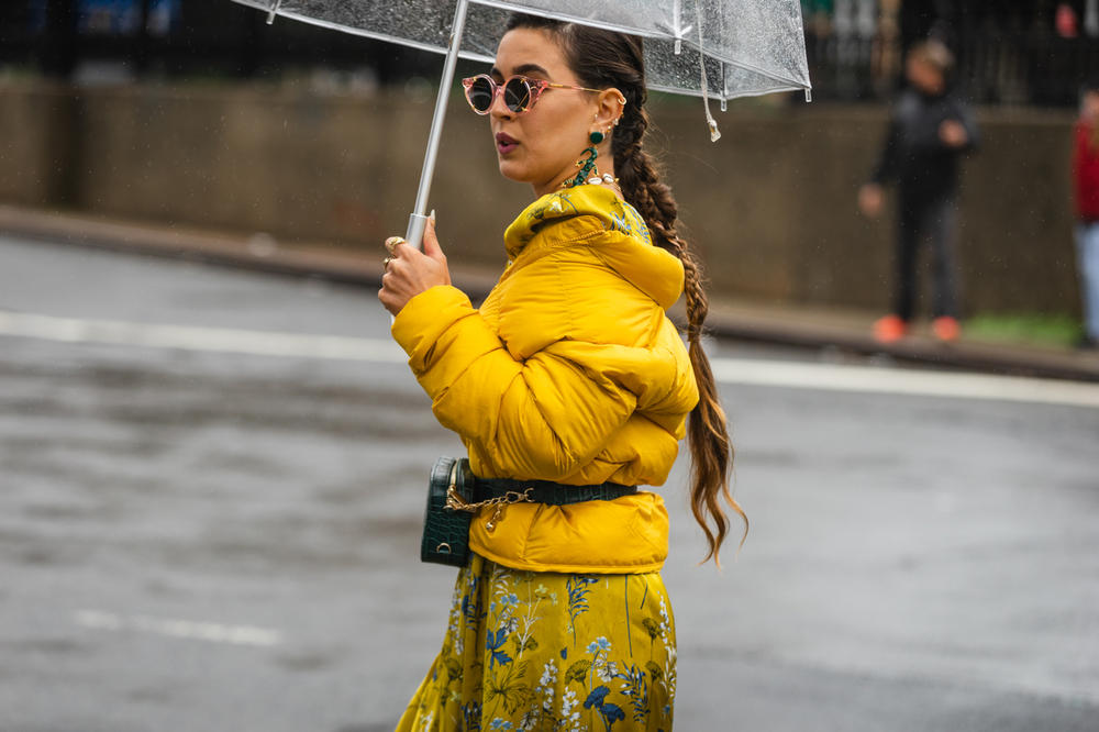 New York Fashion Week NYFW Street Style Street Snaps Jacket Dress Yellow