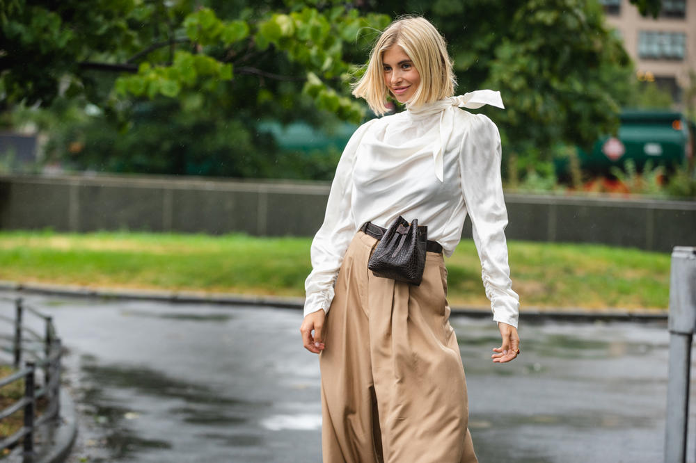 New York Fashion Week NYFW Street Style Street Snaps Top White Pants Tan