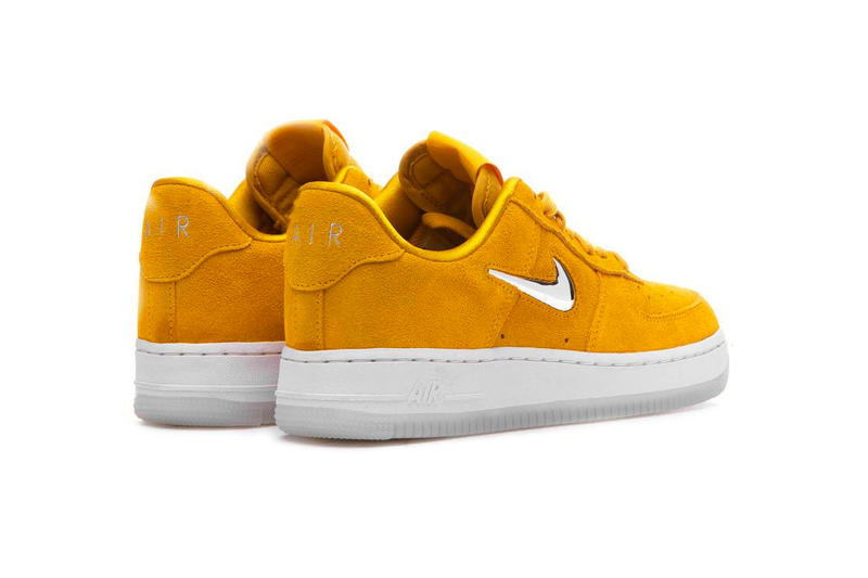 nike air force 1 jewel yellow ochre chrome suede clear outsole
