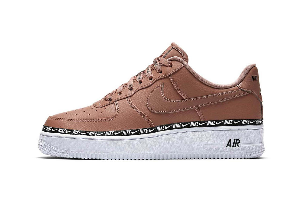 Nike Air Force 1 Logo Ribbon Pack Blush Pink Beige Black Women's Sneakers