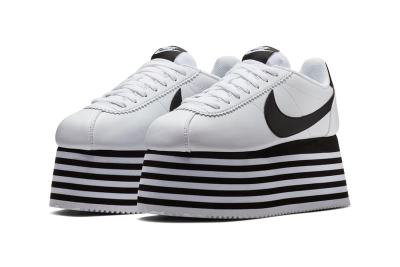new arrival 1698f b40e9 COMME des GARÇONS x Nike Cortez Platform Sneakers Black White Striped