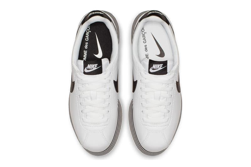 COMME des GARÇONS x Nike Cortez Platform Sneakers Black White Striped