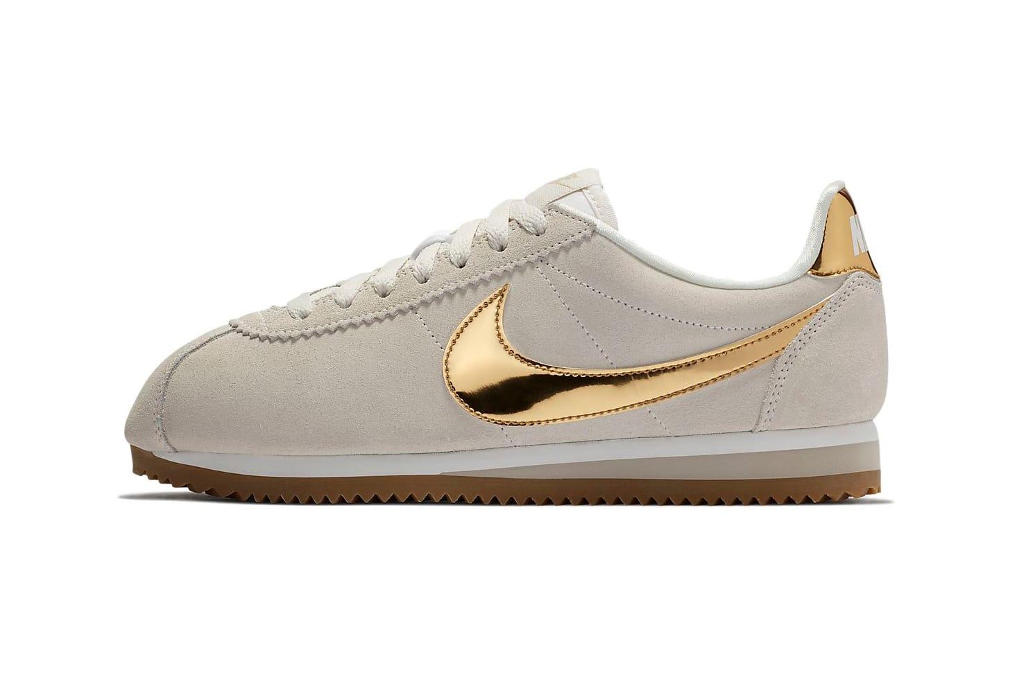 Nike Cortez Phantom with Metallic Gold Swoosh