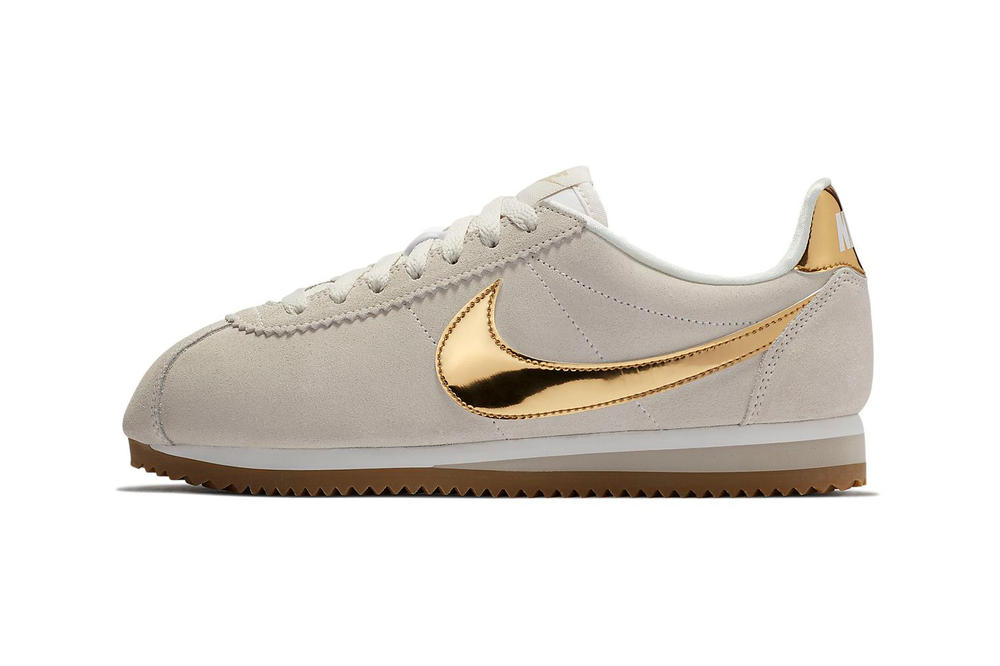 official photos 49724 ca22a A Metallic Gold Swoosh Shines on This Nike Cortez