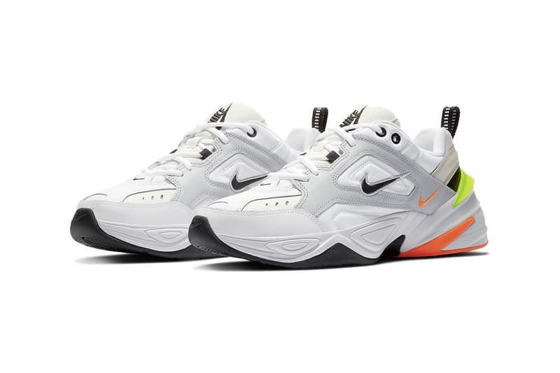 Nike M2K Tekno Pure Platinum Volt Orange Neon Chunky Sneakers